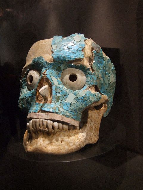 Turquoise encrusted skull. One of the many interesting items recovered from Monte Alban.